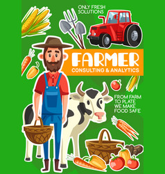 farmer cattle and farming agriculture poster vector image