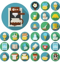 Flat design icons for breakfast vector image