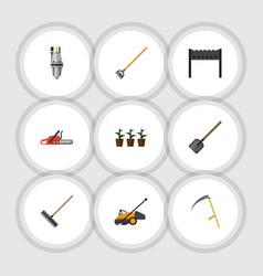 Flat icon farm set of hacksaw lawn mower tool vector