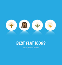 flat icon fiber set of flower cotton pullover vector image