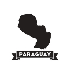 Flat icon in black and white map of Paraguay vector