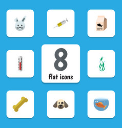 flat icon pets set of fish nutrient osseous vector image