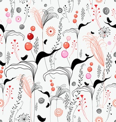 floral texture with berries and birds vector image