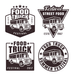 food truck set of four black emblems vector image