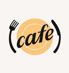 fork plate and knife emblem vector image