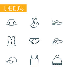 Garment outline icons set collection of waistcoat vector