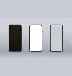 Gold smartphone mockup realistic mobile phone set vector