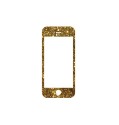 golden glitter gold color flat smart phone icon vector image