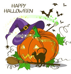 Halloween card with pumpkin vector image