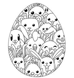 Hand drawn easter eggs for coloring book for adult vector