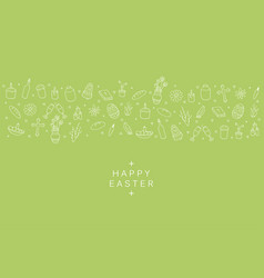 hand drawn easter elements in doodle style green vector image