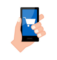 Hand holding a smartphone with a cart icon vector