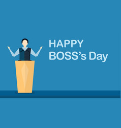 happy bosss day background with boss man that is vector image
