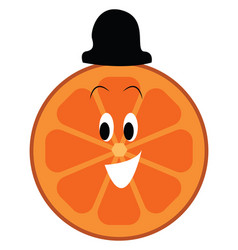 happy faced orange slice with black hat on a vector image