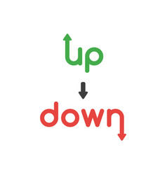 icon concept of up and down words with arrows vector image