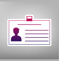 Identification card sign purple gradient vector
