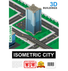 isometric cityscape poster vector image