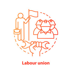 Labour union red concept icon employee right vector