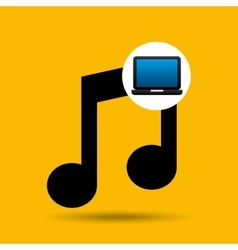 Laptop icon music social media vector