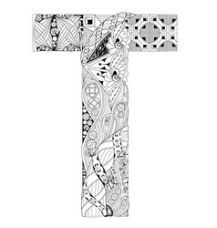 letter t for coloring decorative zentangle vector image vector image