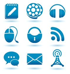 madia icons blue vector image