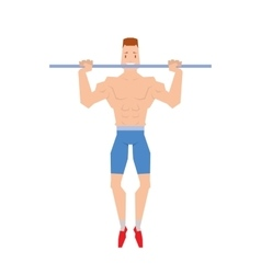 Man doing physical exercises pulling Hanging on vector