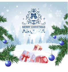 merry christmas background winter forest landscape vector image
