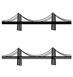 Metal cable suspension bridge black symbol vector
