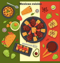 mexican cuisine taco and roasted meat with chilli vector image