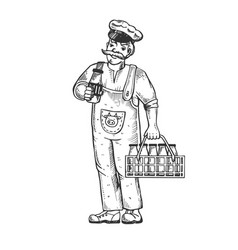 Milk man engraving vector