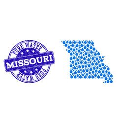 Mosaic map of missouri state with water tears and vector