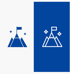 Mountain flag user interface line and glyph solid vector