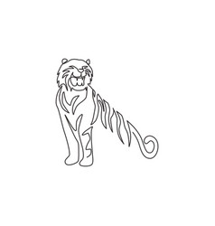 One continuous line drawing african tiger vector