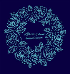 Pale blue outline roses wreath copy space vector
