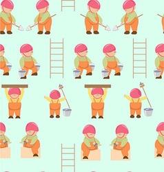 Pattern cartoon builders working little builders vector