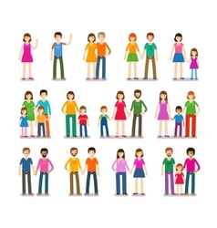 People icons set family love children symbols vector