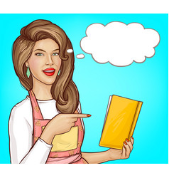 pop art woman pointing finger into open cook book vector image