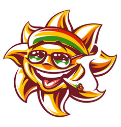 Rasta sun with spliff vector