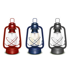 Realistic 3d detailed old oil lantern set vector