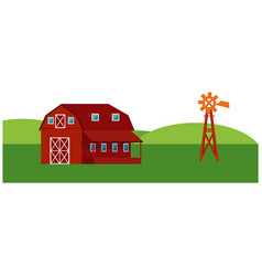 Red farm barn with windmill - countryside vector