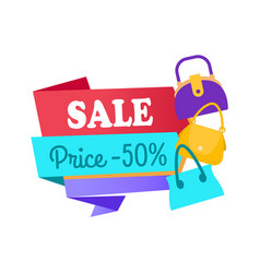 sale price 50 half special offer label discount vector image