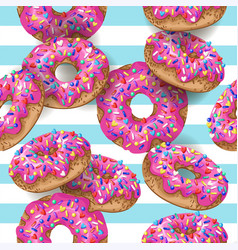 Seamless pattern with yummy donuts on striped vector