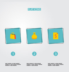set of finance icons flat style symbols with money vector image