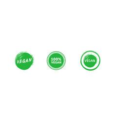 set various signs on vegan theme vegan brush vector image