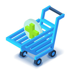 Shopping cart with cross icon isometric style vector