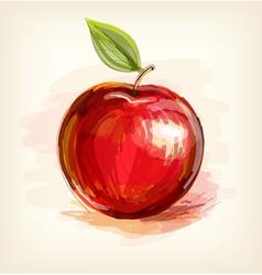 Sketch of red apple in watercolor technique vector