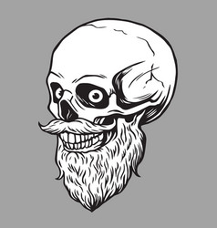 Skull bearded hipster vector
