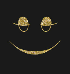smiling icon with glitter effect isolated on vector image
