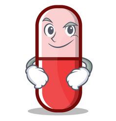 Smirking pill capsule cartoon character vector