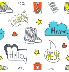 Speech bubbles seamless pattern with different vector